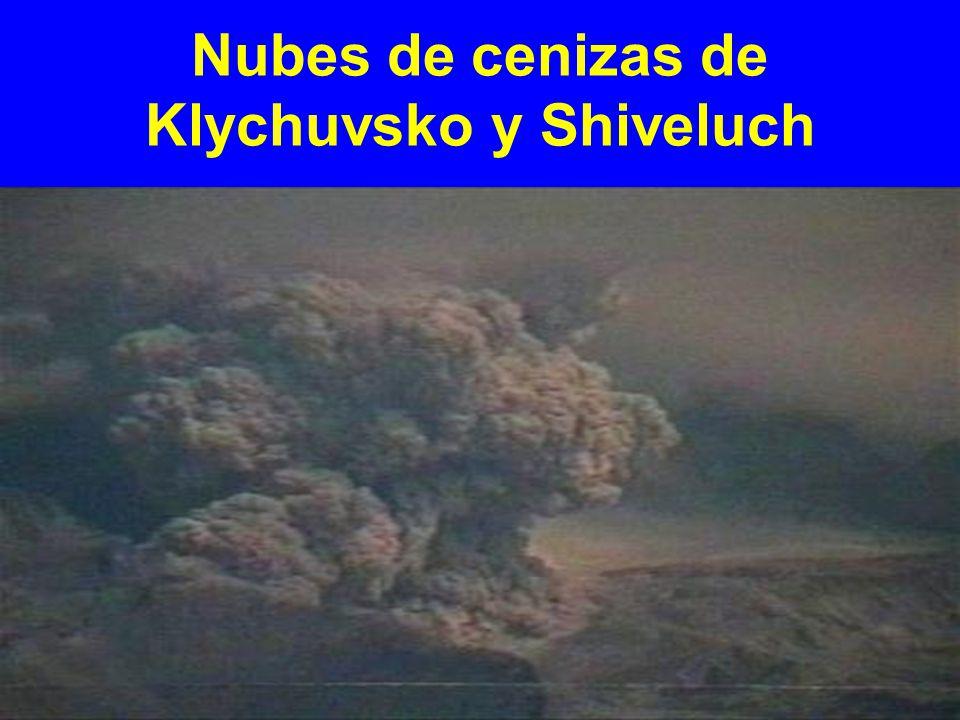 Nubes de cenizas de Klychuvsko y Shiveluch