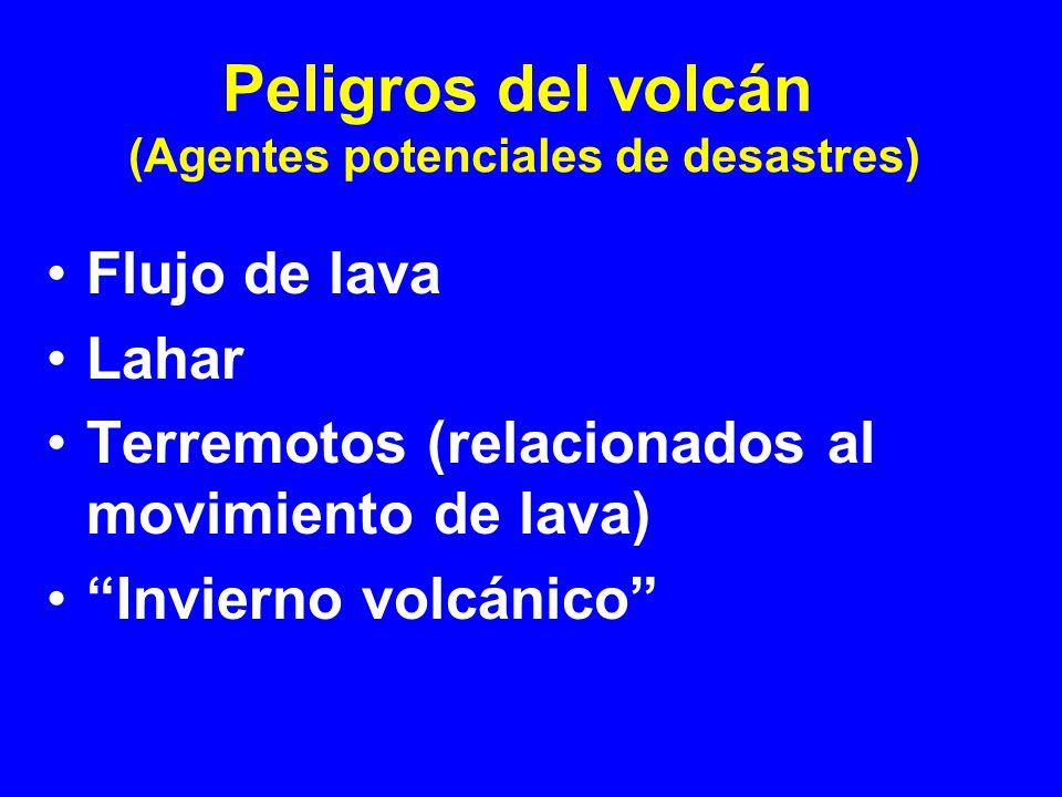 Flujo de lava Lahar Terremotos (relacionados al movimiento de lava) Invierno volcánico Peligros del volcán (Agentes potenciales de desastres)