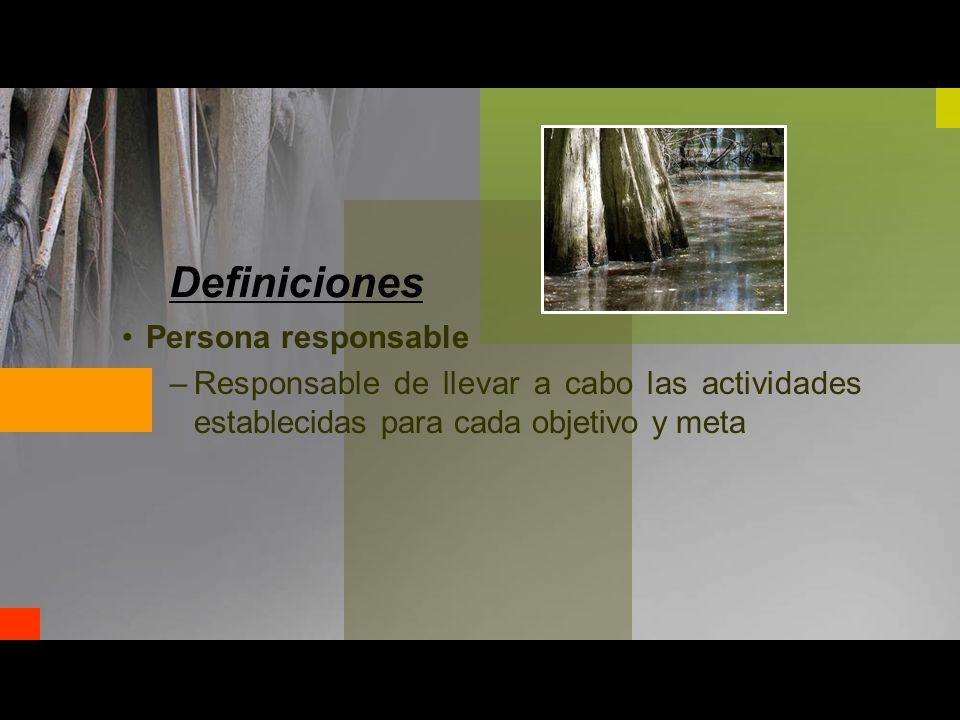 Definiciones Persona responsable –Responsable de llevar a cabo las actividades establecidas para cada objetivo y meta
