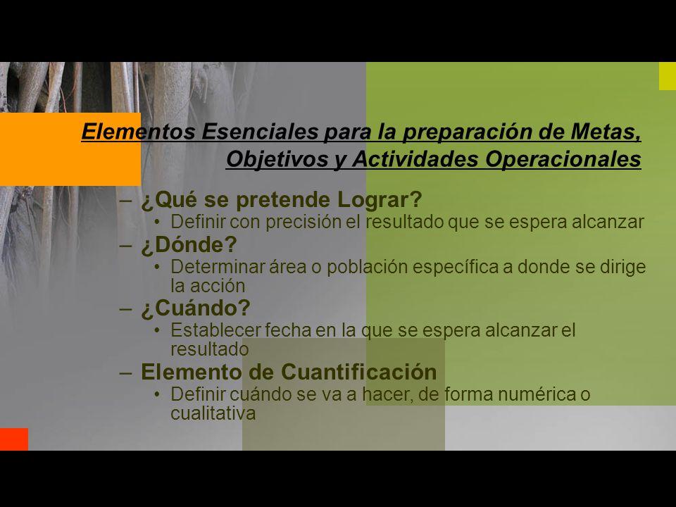 Elementos Esenciales para la preparación de Metas, Objetivos y Actividades Operacionales –¿Qué se pretende Lograr.
