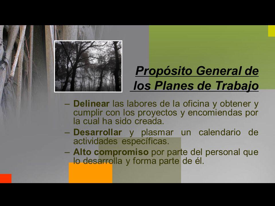 Propósito General de los Planes de Trabajo –Delinear las labores de la oficina y obtener y cumplir con los proyectos y encomiendas por la cual ha sido creada.