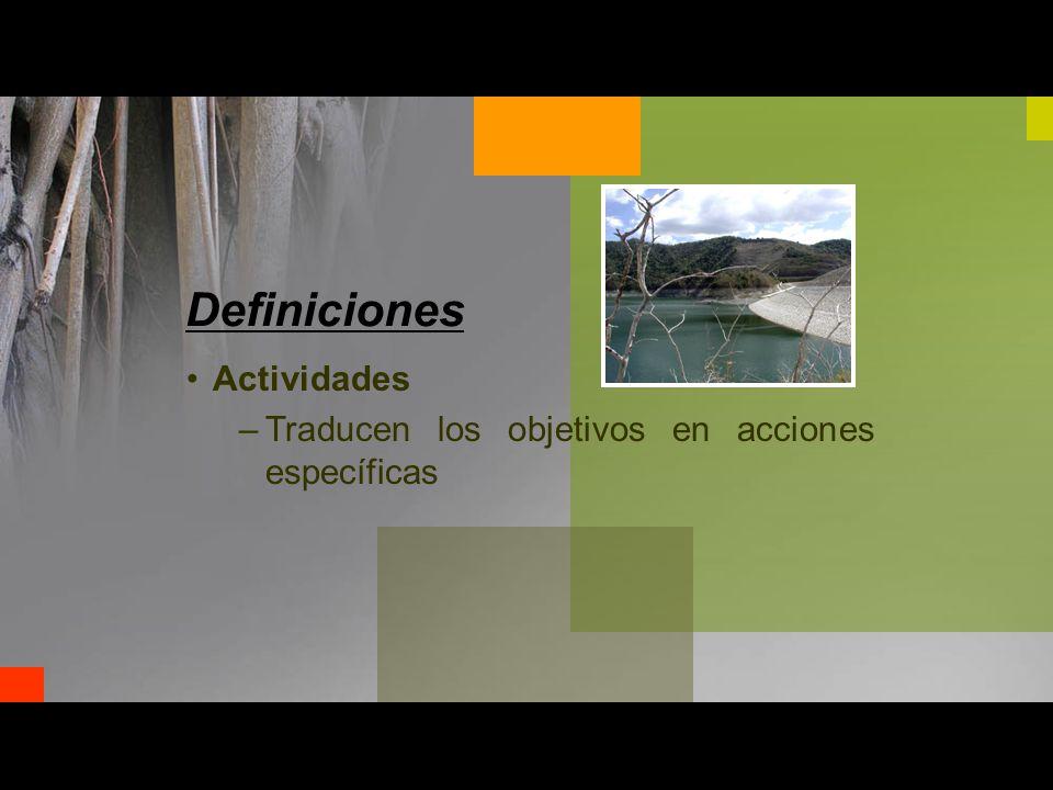 Actividades –Traducen los objetivos en acciones específicas Definiciones