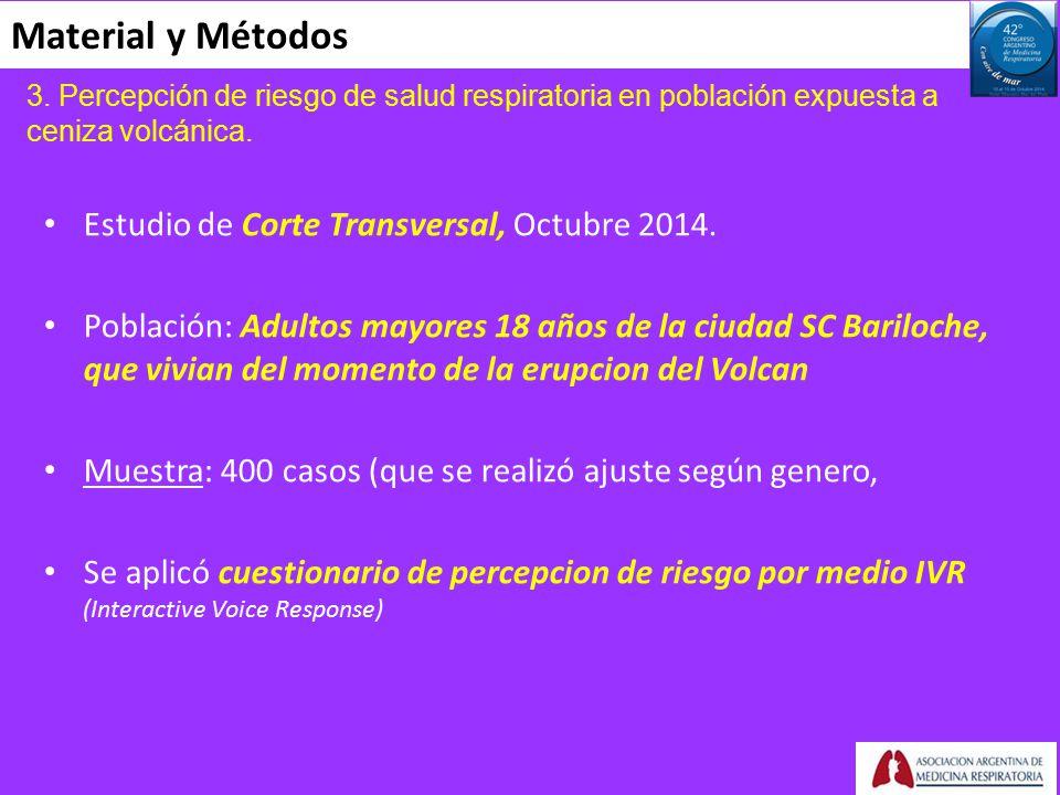 Material y Métodos Estudio de Corte Transversal, Octubre 2014.