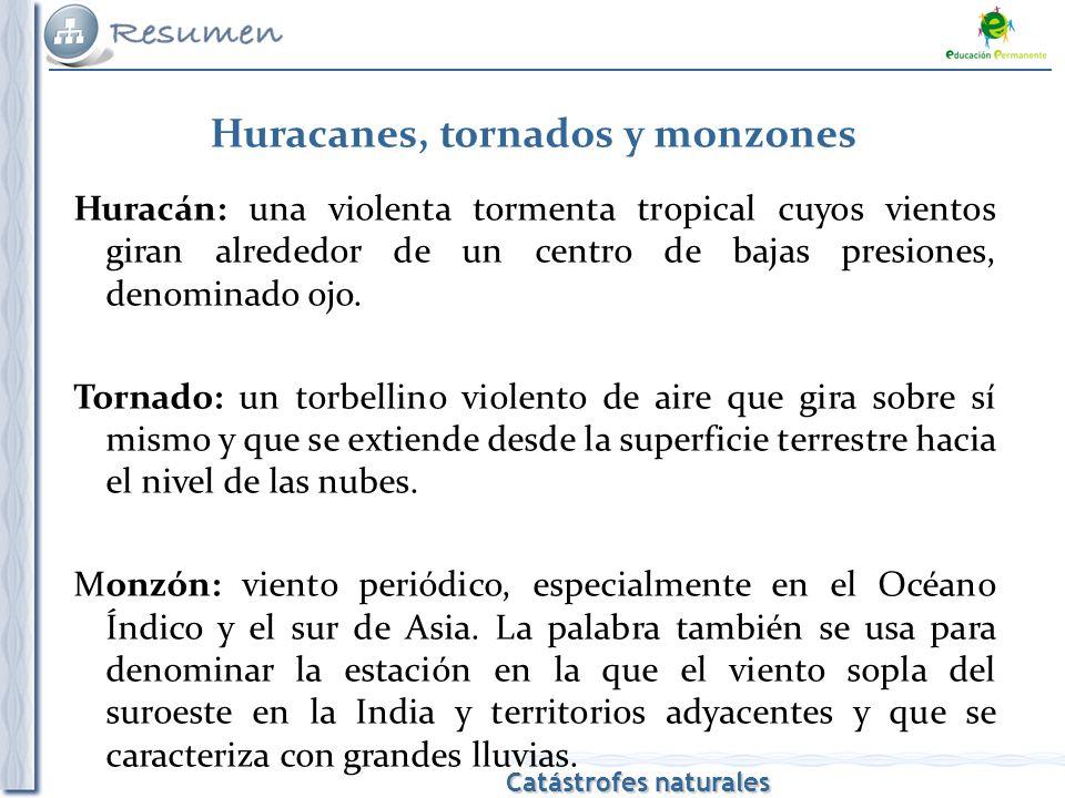 Catástrofes naturales Huracán: una violenta tormenta tropical cuyos vientos giran alrededor de un centro de bajas presiones, denominado ojo.