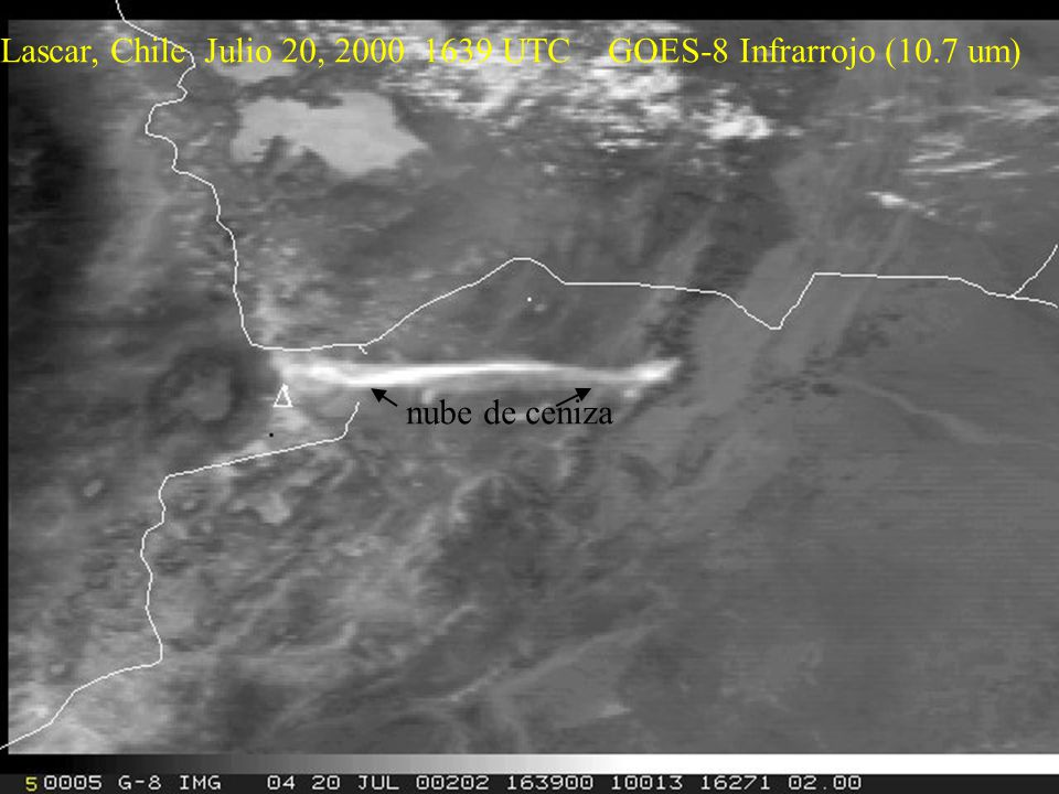 Lascar, Chile Julio 20, 2000 1639 UTC GOES-8 Infrarrojo (10.7 um) nube de ceniza