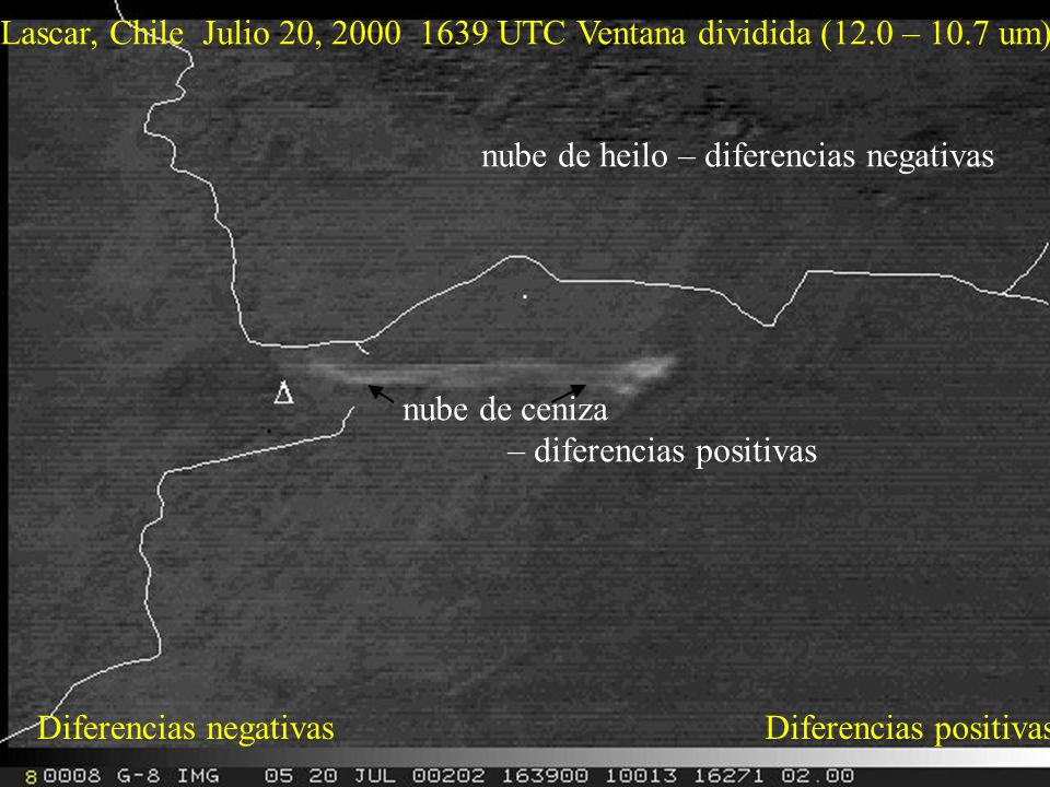 Lascar, Chile Julio 20, 2000 1639 UTC Ventana dividida (12.0 – 10.7 um) Diferencias positivasDiferencias negativas nube de ceniza – diferencias positivas nube de heilo – diferencias negativas