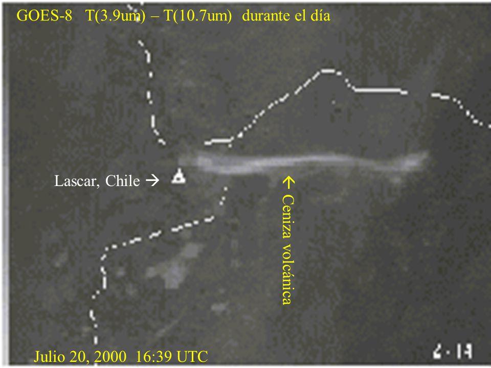 GOES-8 T(3.9um) – T(10.7um) durante el día Lascar, Chile   Ceniza volcánica Julio 20, 2000 16:39 UTC