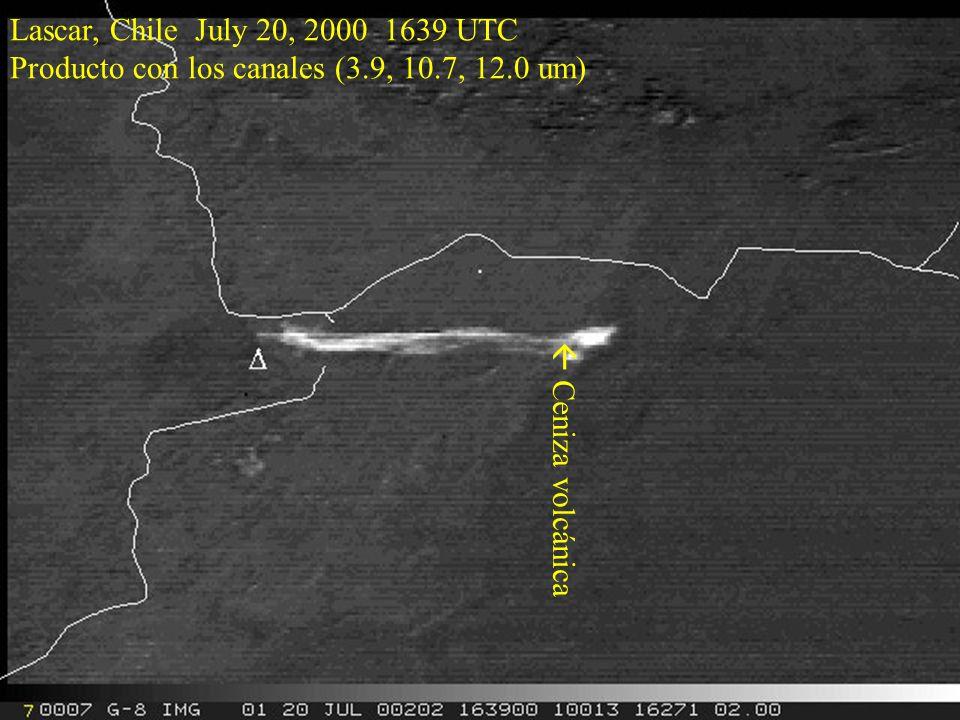 Lascar, Chile July 20, 2000 1639 UTC Producto con los canales (3.9, 10.7, 12.0 um)  Ceniza volcánica