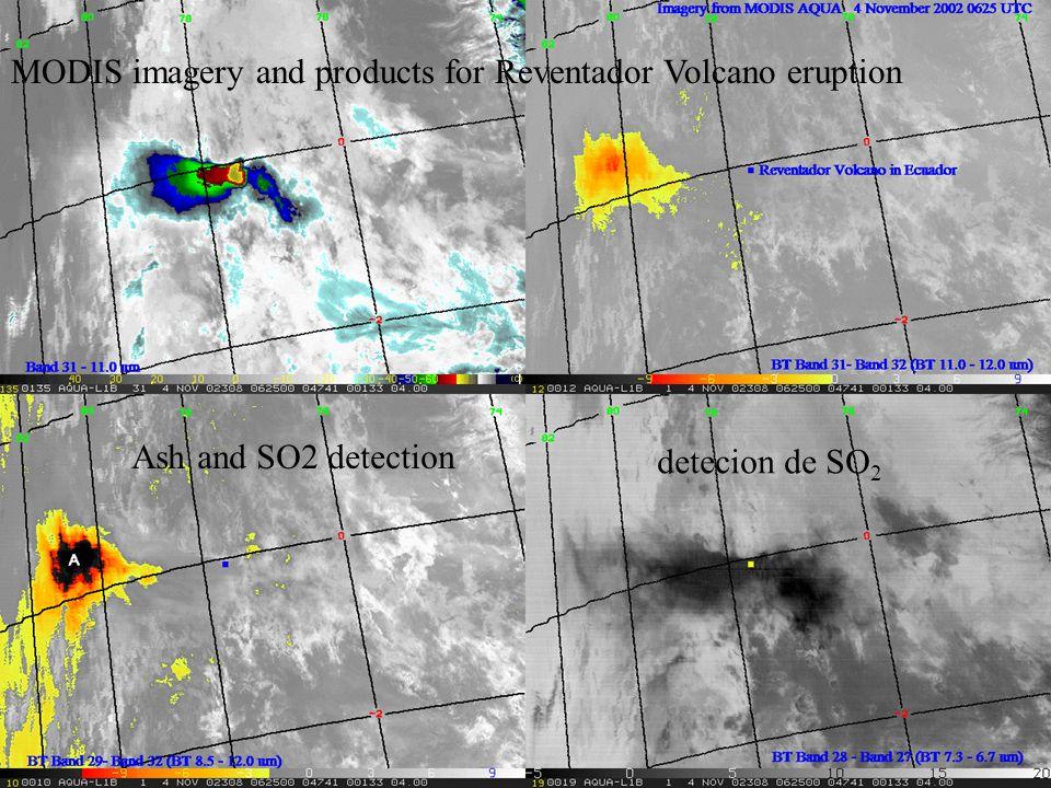 detecion de SO 2 MODIS imagery and products for Reventador Volcano eruption Ash and SO2 detection