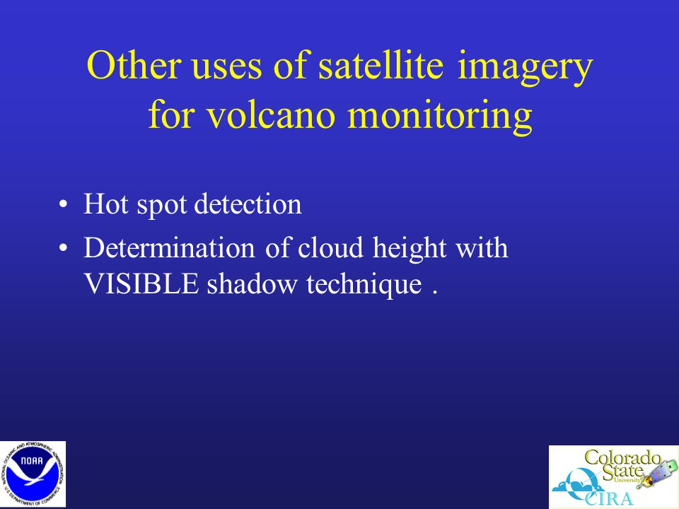 Other uses of satellite imagery for volcano monitoring Hot spot detection Determination of cloud height with VISIBLE shadow technique.