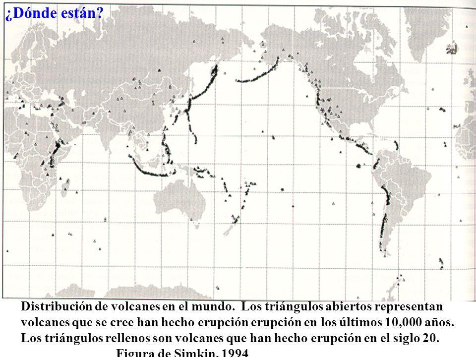 Distribución de volcanes en el mundo.