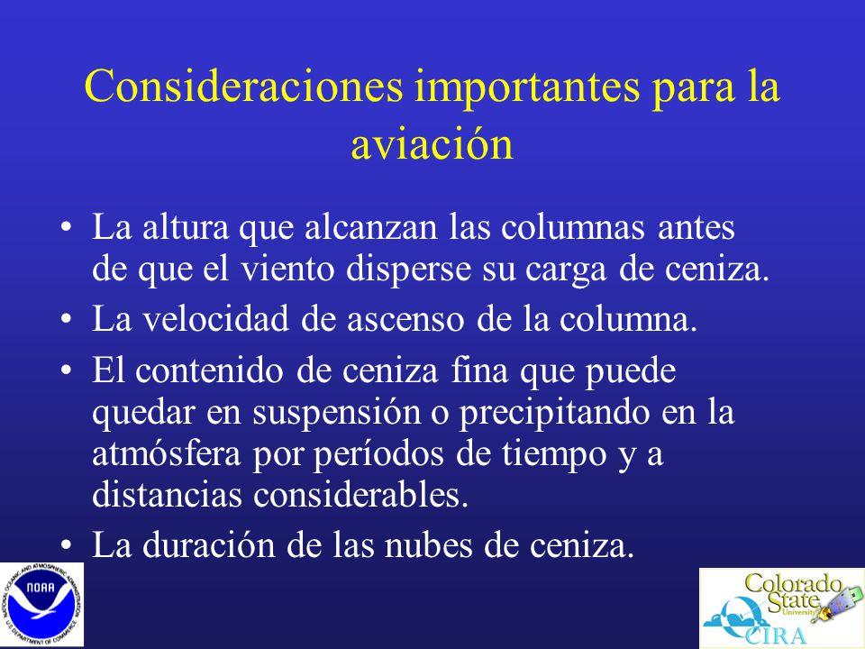 Consideraciones importantes para la aviación La altura que alcanzan las columnas antes de que el viento disperse su carga de ceniza.