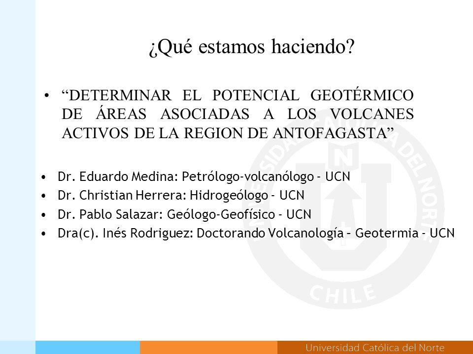 ¿Qué estamos haciendo. Dr. Eduardo Medina: Petrólogo-volcanólogo - UCN Dr.