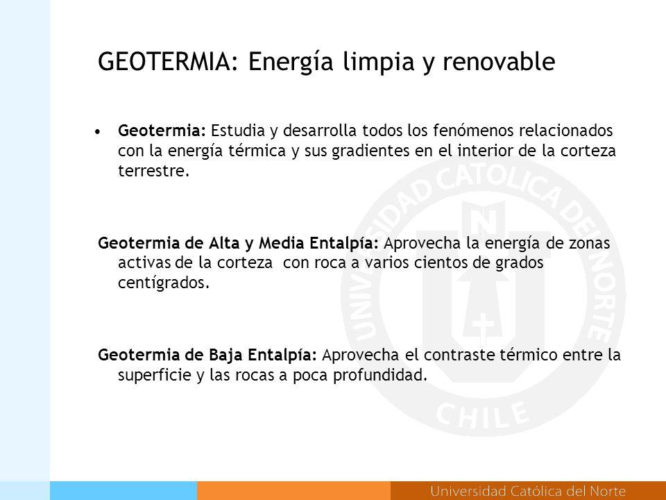 GEOTERMIA: Energía limpia y renovable Geotermia: Estudia y desarrolla todos los fenómenos relacionados con la energía térmica y sus gradientes en el interior de la corteza terrestre.