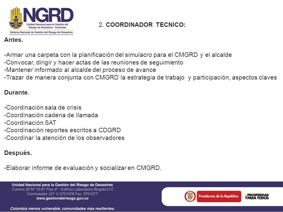 2. COORDINADOR TECNICO: Antes.