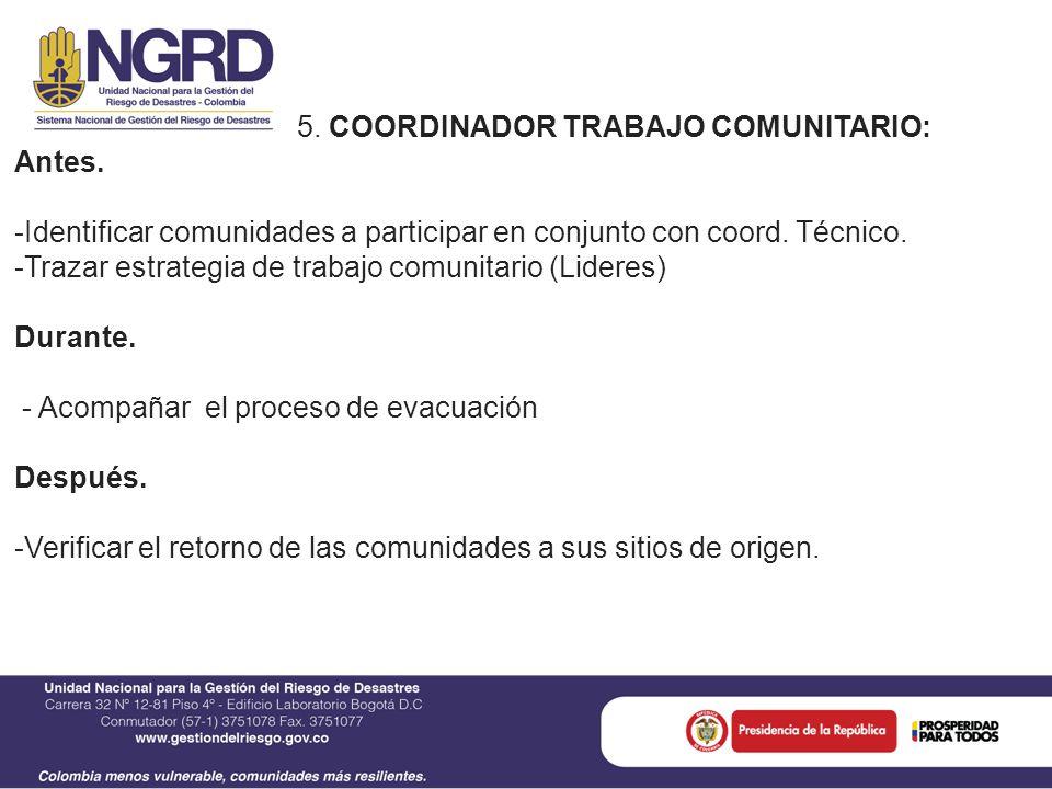 5. COORDINADOR TRABAJO COMUNITARIO: Antes.