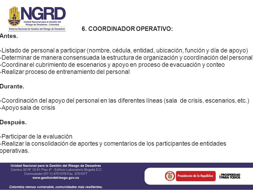 6. COORDINADOR OPERATIVO: Antes.