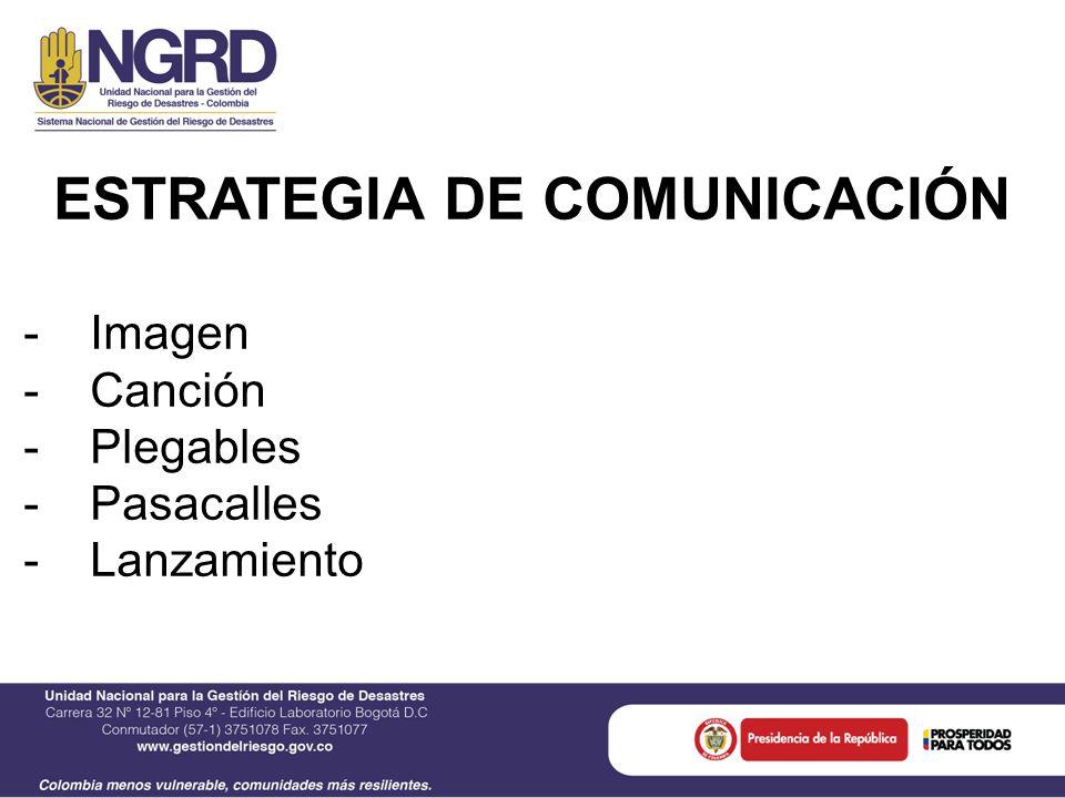 ESTRATEGIA DE COMUNICACIÓN -Imagen -Canción -Plegables -Pasacalles -Lanzamiento