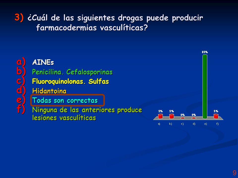 9 3) ¿Cuál de las siguientes drogas puede producir farmacodermias vasculíticas.