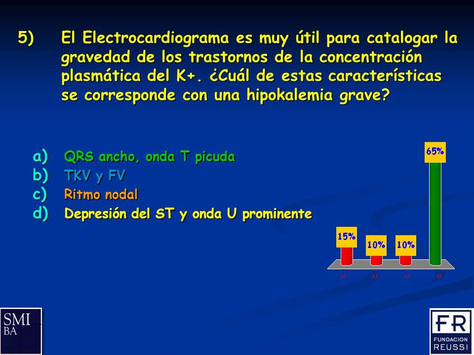 15 5)El Electrocardiograma es muy útil para catalogar la gravedad de los trastornos de la concentración plasmática del K+.