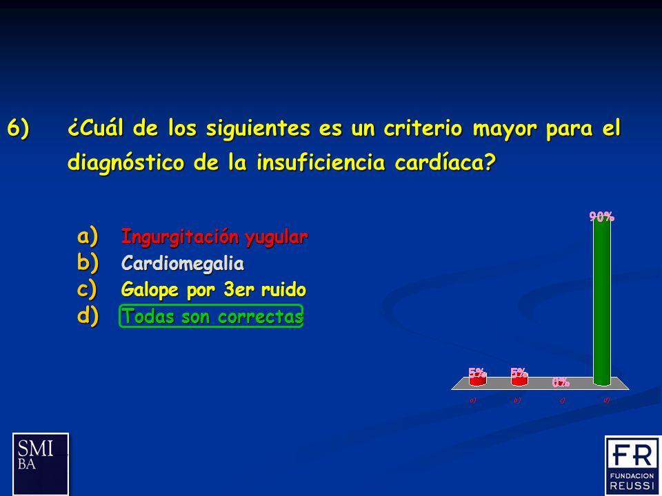 17 6)¿Cuál de los siguientes es un criterio mayor para el diagnóstico de la insuficiencia cardíaca.
