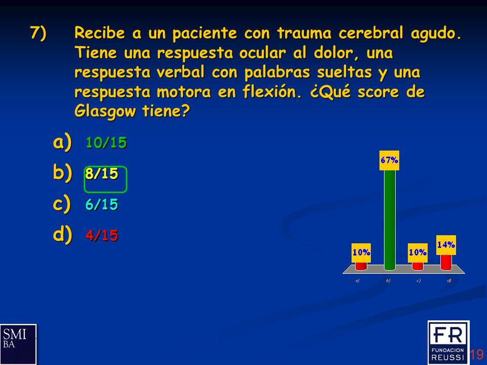19 7)Recibe a un paciente con trauma cerebral agudo.