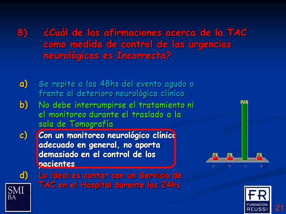 21 8)¿Cuál de las afirmaciones acerca de la TAC como medida de control de las urgencias neurológicas es Incorrecta.