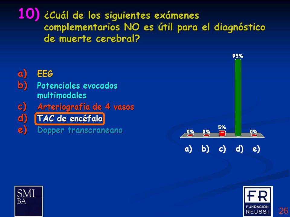 26 10) ¿Cuál de los siguientes exámenes complementarios NO es útil para el diagnóstico de muerte cerebral.