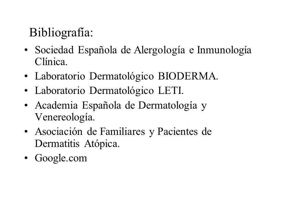 Bibliografía: Sociedad Española de Alergología e Inmunología Clínica.