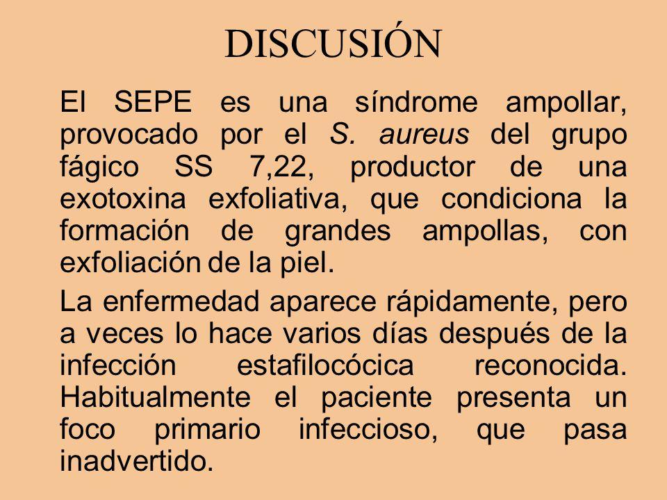 DISCUSIÓN El SEPE es una síndrome ampollar, provocado por el S. aureus del grupo fágico SS 7,22, productor de una exotoxina exfoliativa, que condicion