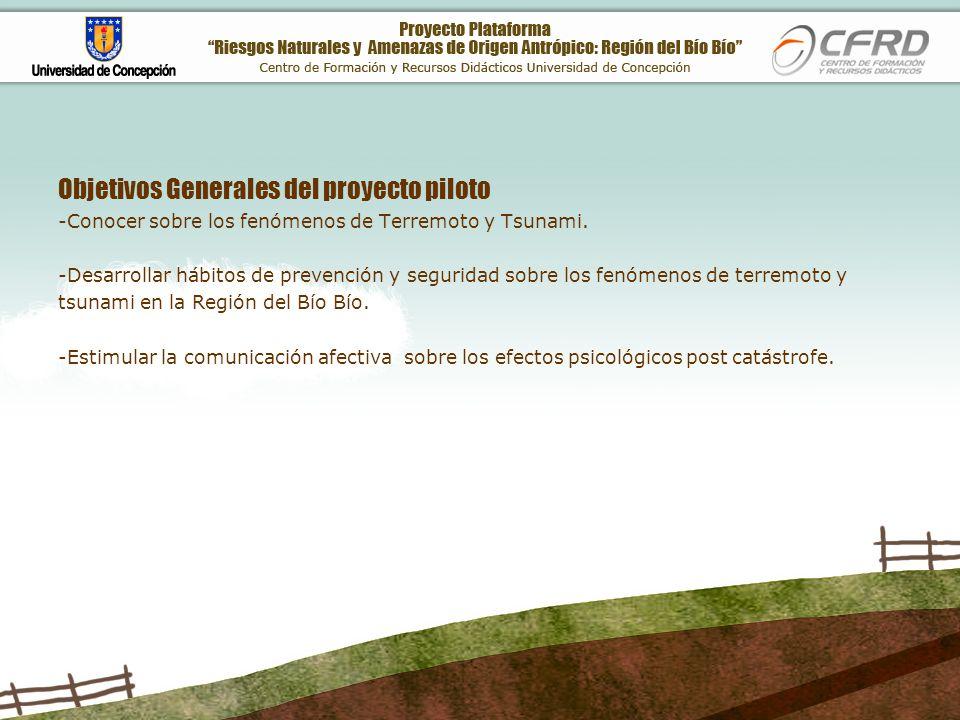 Objetivos Generales del proyecto piloto -Conocer sobre los fenómenos de Terremoto y Tsunami.