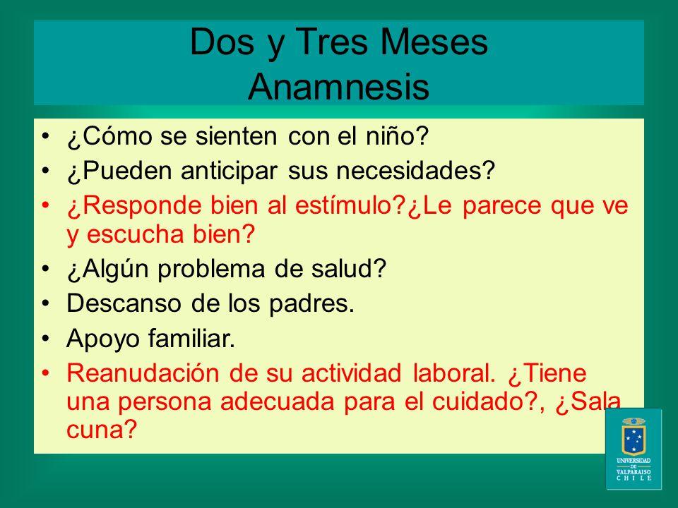 Dos y Tres Meses Anamnesis ¿Cómo se sienten con el niño.