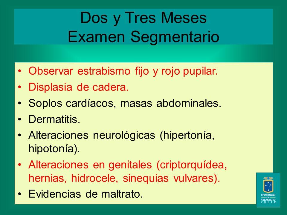 Dos y Tres Meses Examen Segmentario Observar estrabismo fijo y rojo pupilar.