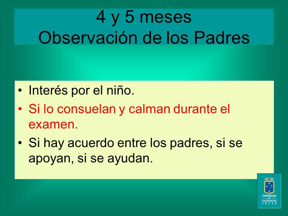 4 y 5 meses Observación de los Padres Interés por el niño.