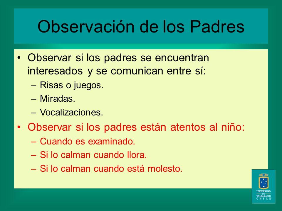 Observación de los Padres Observar si los padres se encuentran interesados y se comunican entre sí: –Risas o juegos.