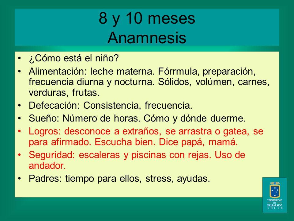 8 y 10 meses Anamnesis ¿Cómo está el niño. Alimentación: leche materna.