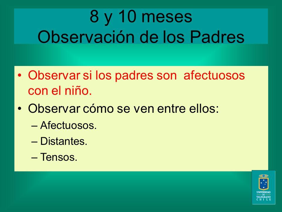 8 y 10 meses Observación de los Padres Observar si los padres son afectuosos con el niño.