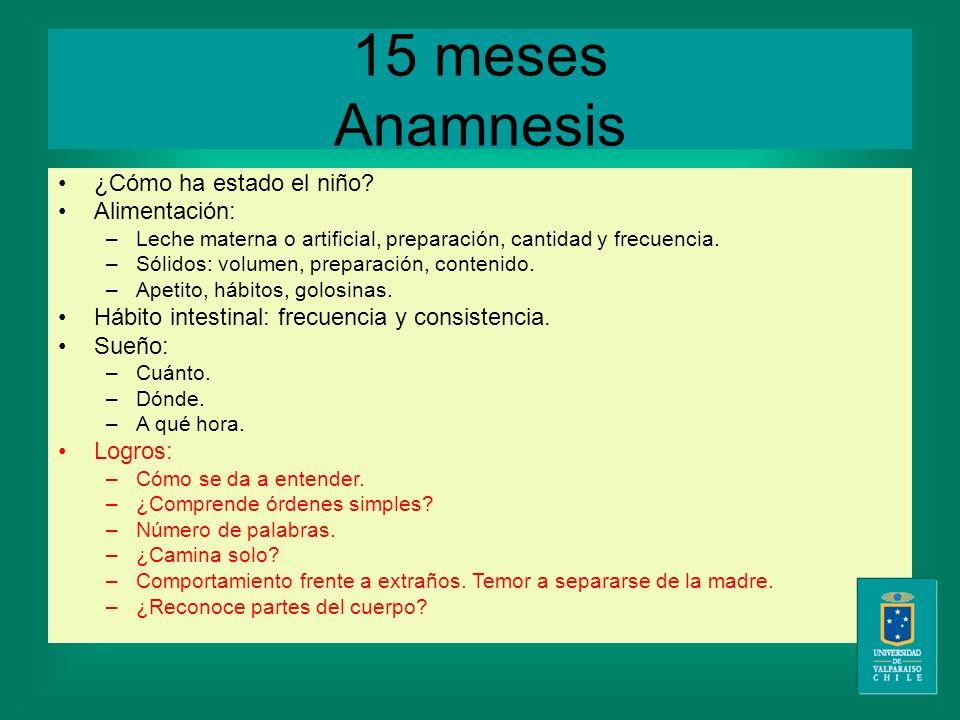 15 meses Anamnesis ¿Cómo ha estado el niño.