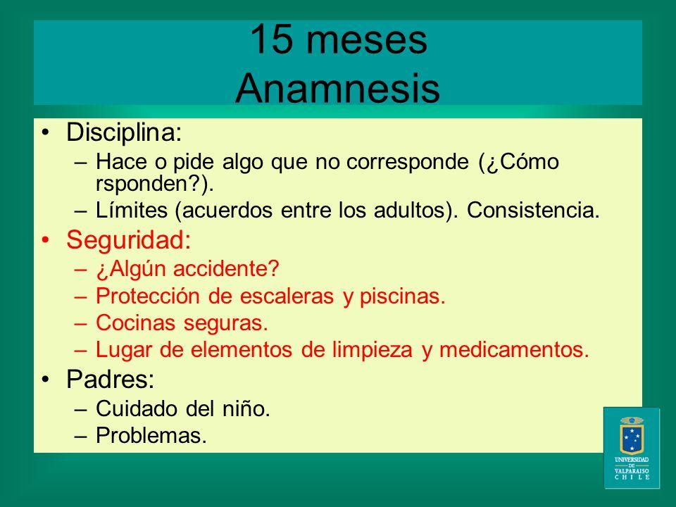15 meses Anamnesis Disciplina: –Hace o pide algo que no corresponde (¿Cómo rsponden ).