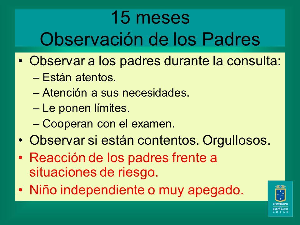 15 meses Observación de los Padres Observar a los padres durante la consulta: –Están atentos.
