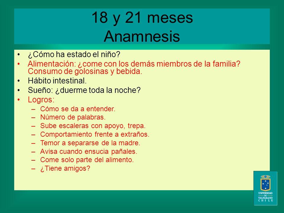 18 y 21 meses Anamnesis ¿Cómo ha estado el niño.