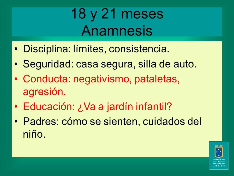 18 y 21 meses Anamnesis Disciplina: límites, consistencia.