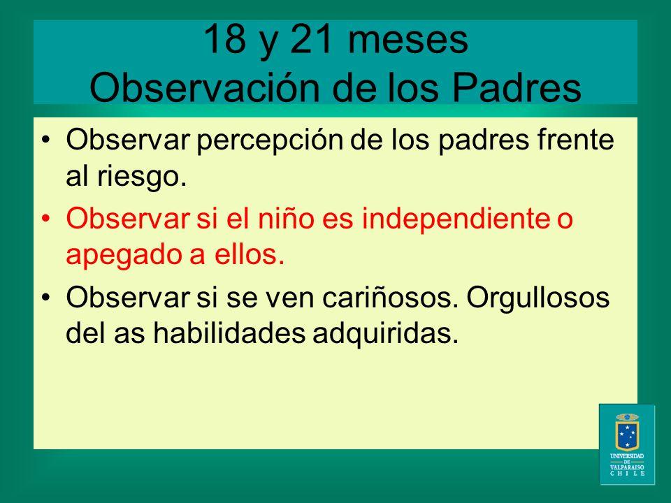 18 y 21 meses Observación de los Padres Observar percepción de los padres frente al riesgo.