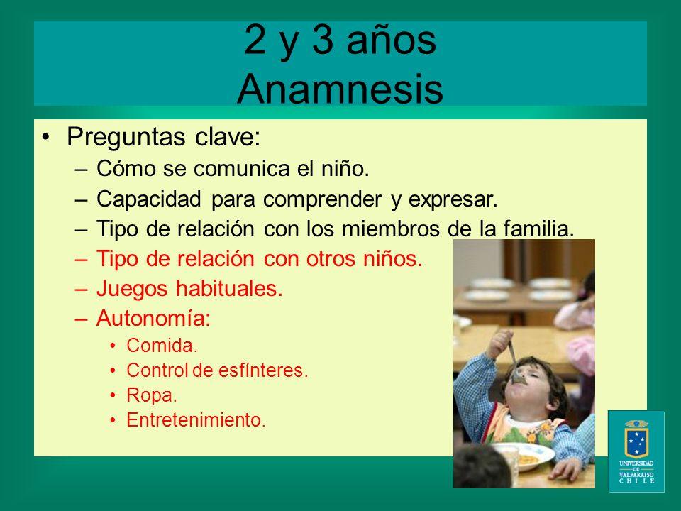 2 y 3 años Anamnesis Preguntas clave: –Cómo se comunica el niño.