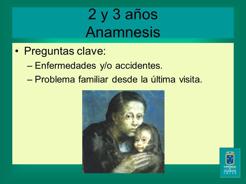 2 y 3 años Anamnesis Preguntas clave: –Enfermedades y/o accidentes.