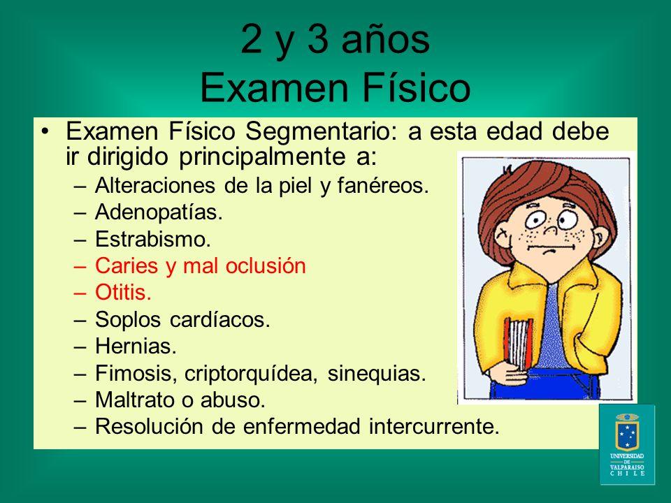 2 y 3 años Examen Físico Examen Físico Segmentario: a esta edad debe ir dirigido principalmente a: –A–Alteraciones de la piel y fanéreos.