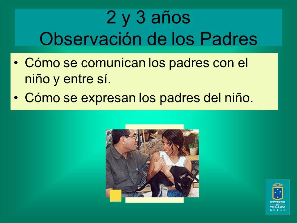 2 y 3 años Observación de los Padres Cómo se comunican los padres con el niño y entre sí.