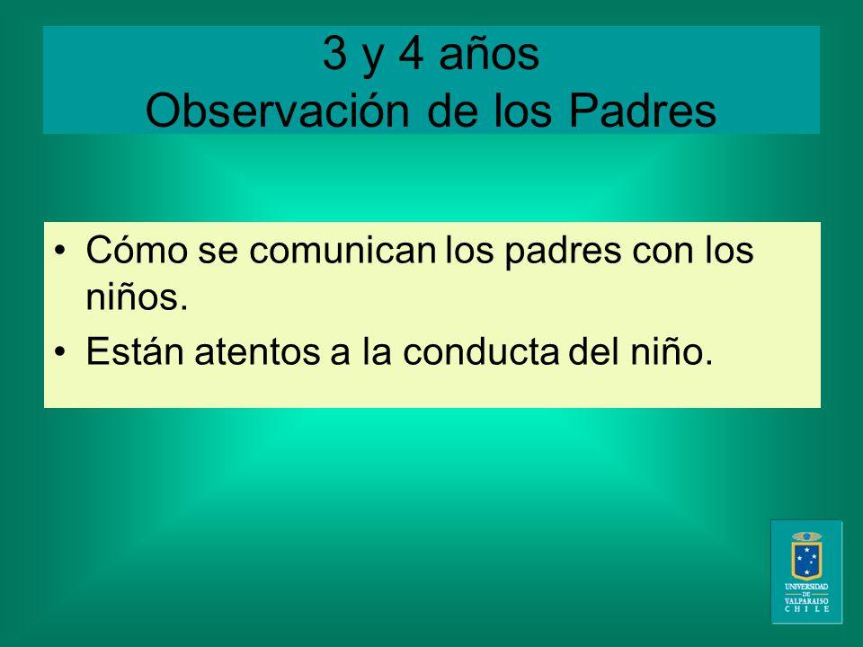 3 y 4 años Observación de los Padres Cómo se comunican los padres con los niños.