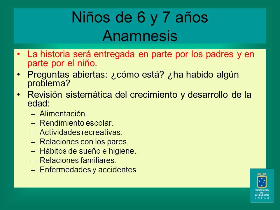 Niños de 6 y 7 años Anamnesis La historia será entregada en parte por los padres y en parte por el niño.