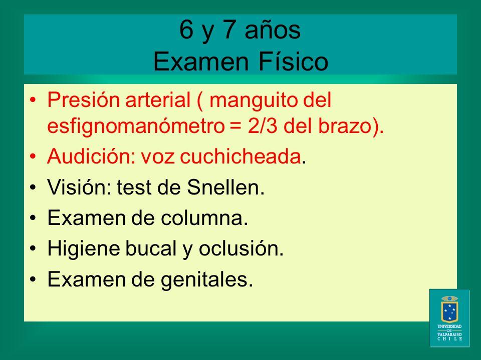 6 y 7 años Examen Físico Presión arterial ( manguito del esfignomanómetro = 2/3 del brazo).